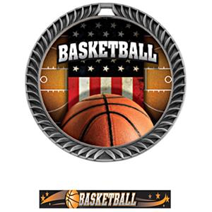 SILVER MEDAL/ULTIMATE BASKETBALL NECK RIBBON