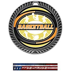 SILVER MEDAL/PATRIOT BASKETBALL NECK RIBBON