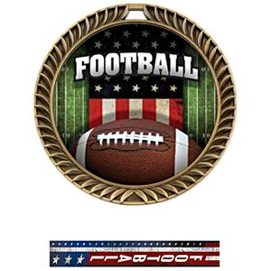 GOLD MEDAL/PATRIOT FOOTBALL NECK RIBBON