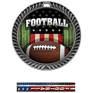 SILVER MEDAL/PATRIOT FOOTBALL NECK RIBBON