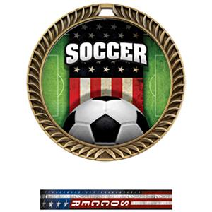 GOLD MEDAL/PATRIOT SOCCER NECK RIBBON