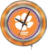 Holland Clemson Tigers Neon Logo Clock