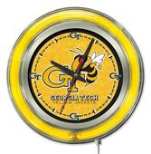 Holland Georgia Tech Neon Logo Clock