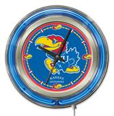 Holland University of Kansas Neon Logo Clock