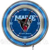 Holland University of Maine Neon Logo Clock
