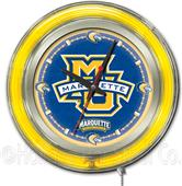Holland Marquette University Neon Logo Clock