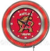 Holland University of Maryland Neon Logo Clock
