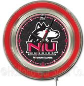Holland Univ of Northern Illinois Neon Logo Clock