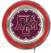 Holland Texas A&M Neon Logo Clock