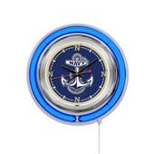 Holland US Naval Academy Neon Logo Clock