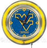 Holland West Virginia University Neon Logo Clock