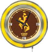 Holland University of Wyoming Neon Logo Clock