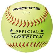 Pro Nine Official Slowpitch Yellow Softballs