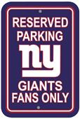 BSI NFL New York Giants Reserved Parking Sign