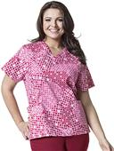 WonderWink Plus V-Neck Ring True Print Scrub Top