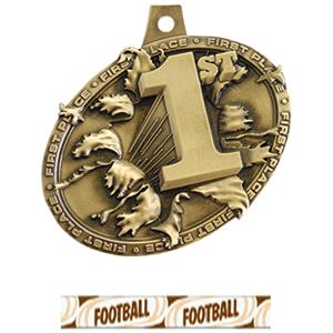 GOLD MEDAL/DELUXE FOOTBALL NECK RIBBON