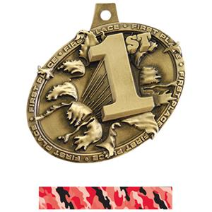 GOLD MEDAL/CAMO RED NECK RIBBON