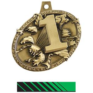 GOLD MEDAL/PHOENIX GREEN NECK RIBBON