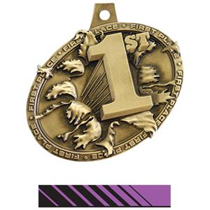 GOLD MEDAL/PHOENIX PURPLE NECK RIBBON