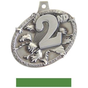 SILVER MEDAL/GREEN NECK RIBBON
