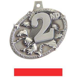SILVER MEDAL/RED NECK RIBBON