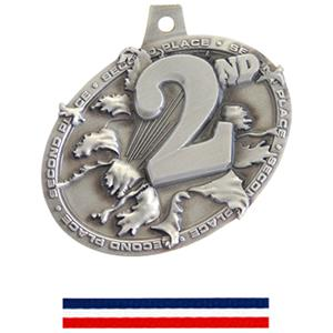 SILVER MEDAL/RED/WHITE/BLUE NECK RIBBON