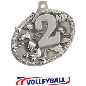 SILVER MEDAL/DELUXE VOLLEYBALL NECK RIBBON
