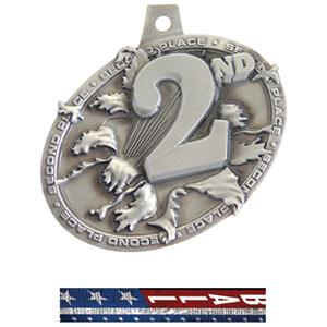 SILVER MEDAL/PATRIOT VOLLEYBALL NECK RIBBON