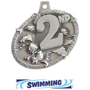 SILVER MEDAL/DELUXE SWIMMING NECK RIBBON