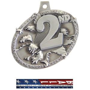 SILVER MEDAL/PATRIOT SOFTBALL NECK RIBBON