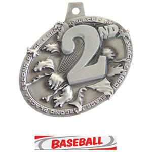 SILVER MEDAL/DELUXE BASEBALL NECK RIBBON