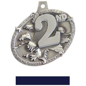 SILVER MEDAL/NAVY NECK RIBBON