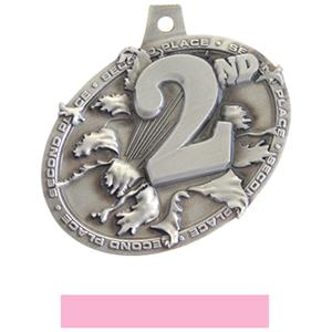 SILVER MEDAL/PINK NECK RIBBON