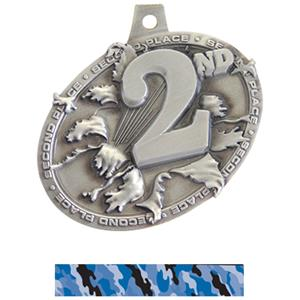 SILVER MEDAL/CAMO BLUE NECK RIBBON