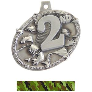SILVER MEDAL/CAMO GREEN NECK RIBBON
