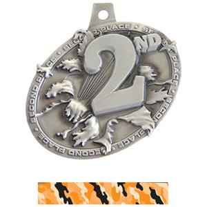 SILVER MEDAL/CAMO ORANGE NECK RIBBON