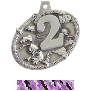 SILVER MEDAL/CAMO PURPLE NECK RIBBON