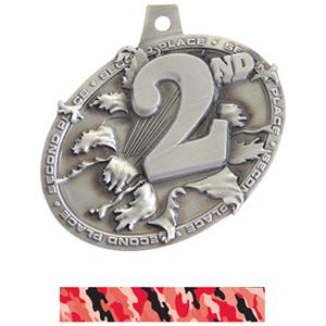 SILVER MEDAL/CAMO RED NECK RIBBON