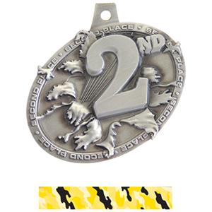 SILVER MEDAL/CAMO YELLOW NECK RIBBON