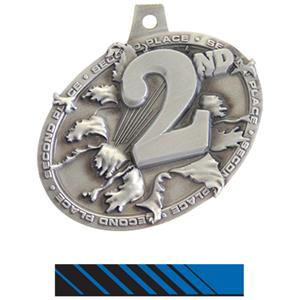 SILVER MEDAL/PHOENIX BLUE NECK RIBBON