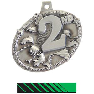 SILVER MEDAL/PHOENIX GREEN NECK RIBBON