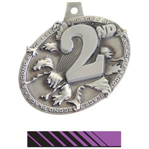 SILVER MEDAL/PHOENIX PURPLE NECK RIBBON