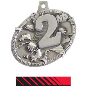 SILVER MEDAL/PHOENIX RED NECK RIBBON