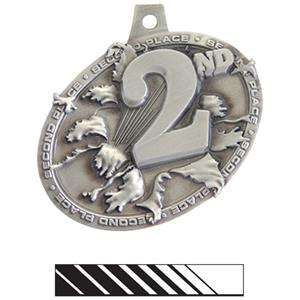 SILVER MEDAL/PHOENIX WHITE NECK RIBBON