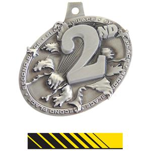 SILVER MEDAL/PHOENIX YELLOW NECK RIBBON