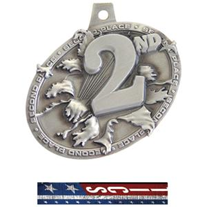 SILVER MEDAL/PATRIOT GYMNASTIC NECK RIBBON