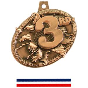 BRONZE MEDAL/RED/WHITE/BLUE NECK RIBBON