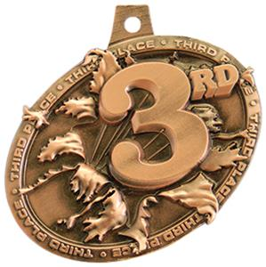 BRONZE MEDAL/DELUXE VOLLEYBALL NECK RIBBON
