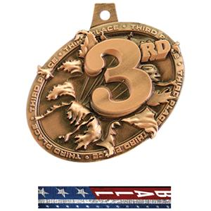 BRONZE MEDAL/PATRIOT FOOTBALL NECK RIBBON