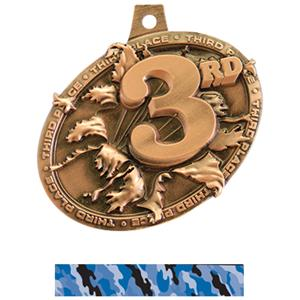 BRONZE MEDAL/CAMO BLUE NECK RIBBON